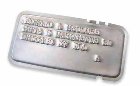 Металлическая кредитная карточка, 1950 год