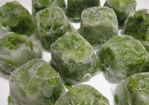 Заморозка зелени во льду