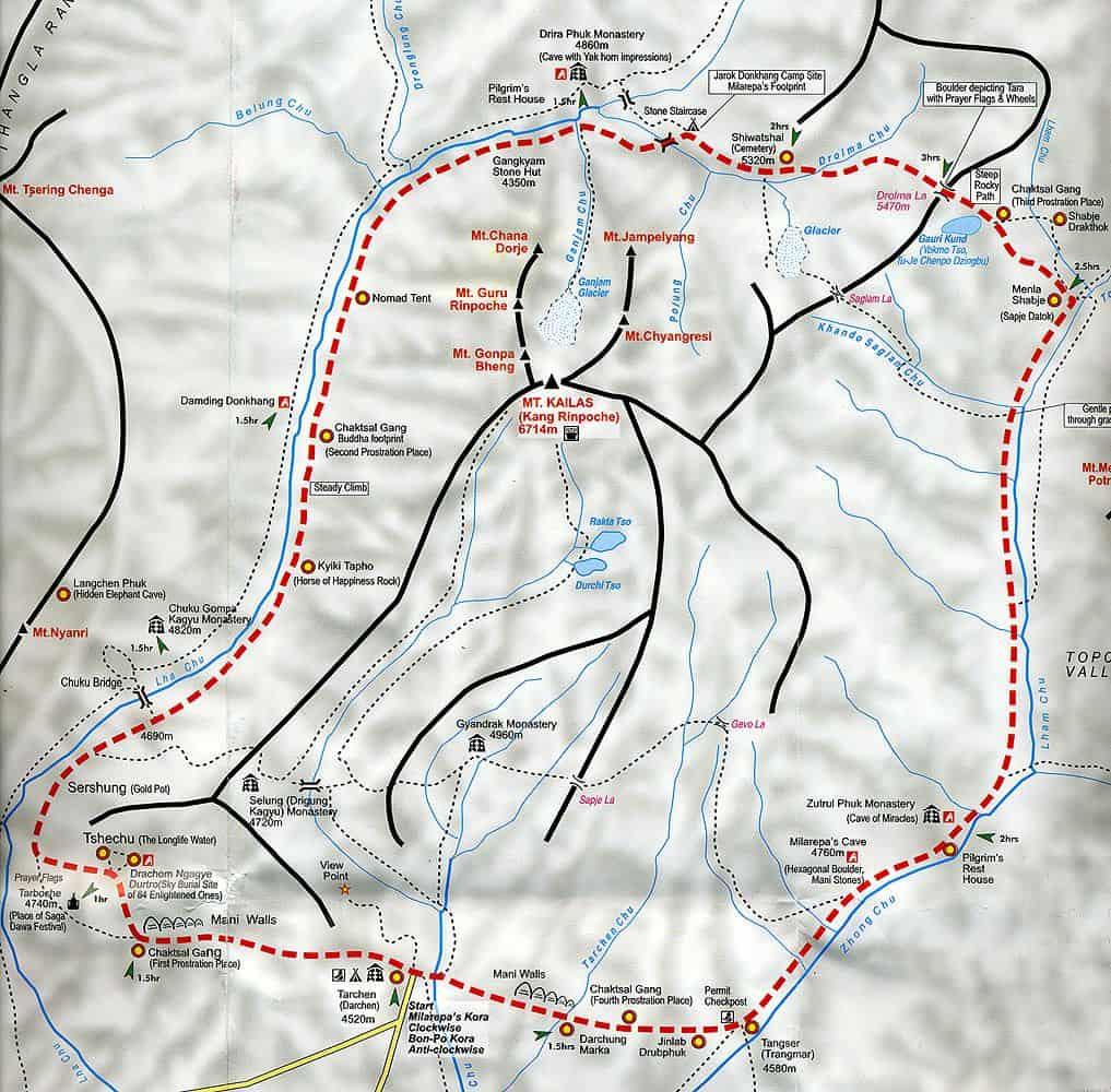 Карта горы Кайлас для совершающих обход