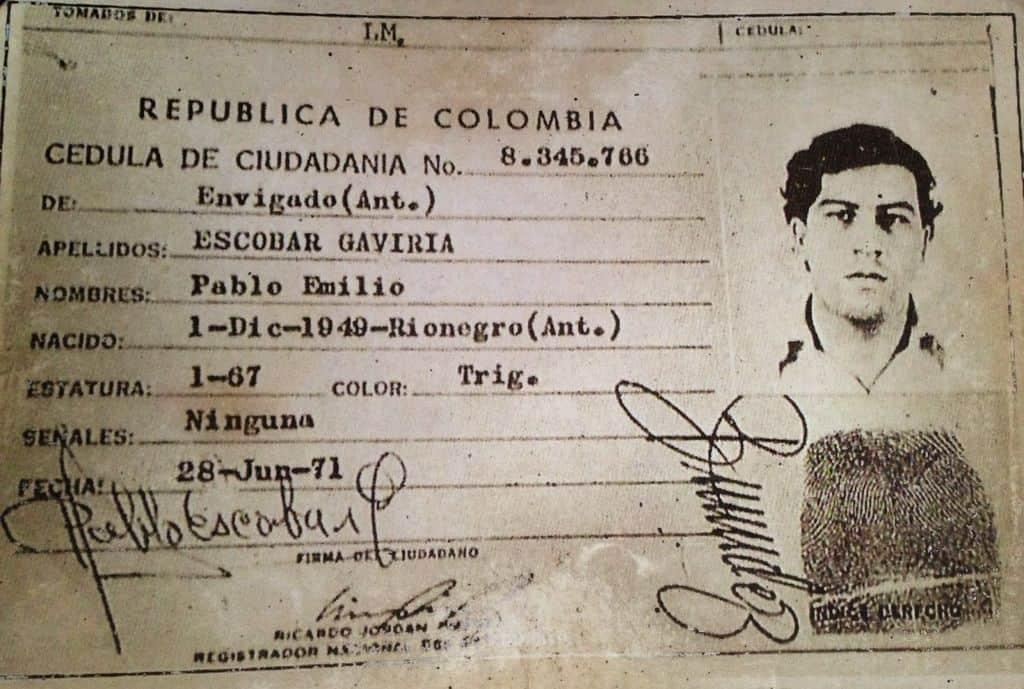 Личное дело Пабло Эскобара