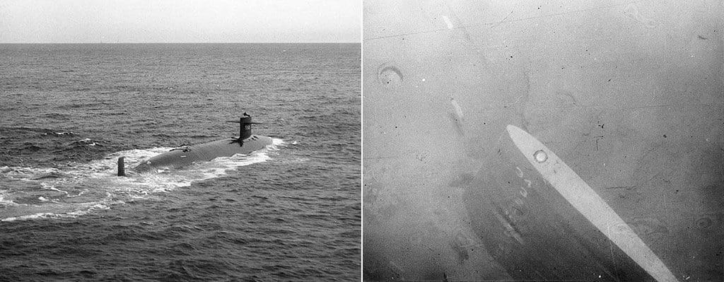 Субмарины «Трешер» и ее обломки, поднятые со дна