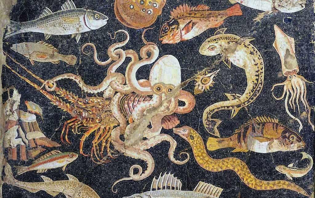 Изображение кальмара на фресках древнегреческих храмов