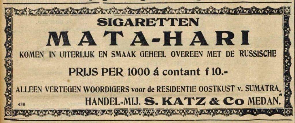 Реклама папирос Мата Хари