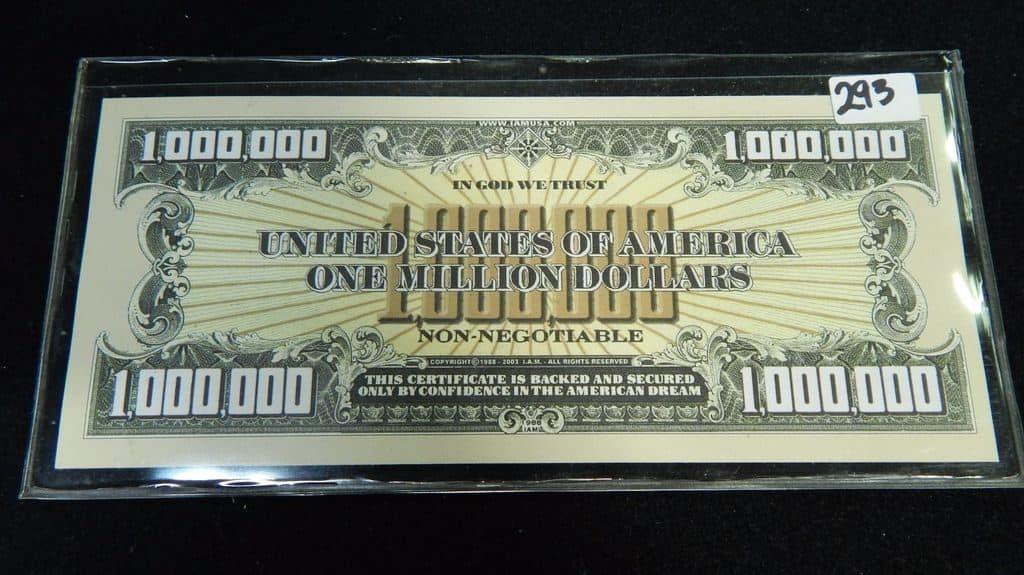 Сертификат на миллион долларов