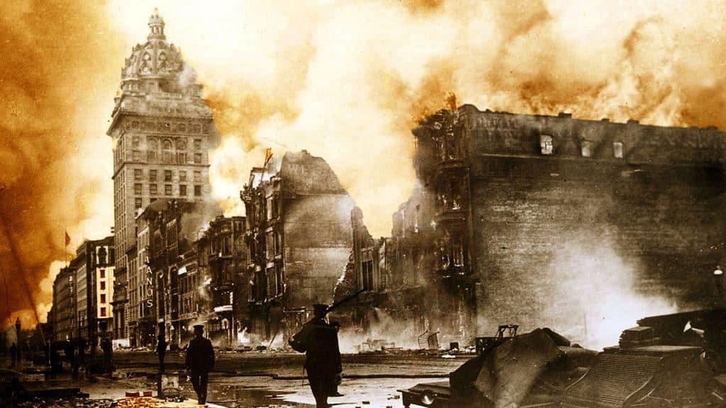 Пожар после землетрясения в Сан-Франциско, 1906 г.