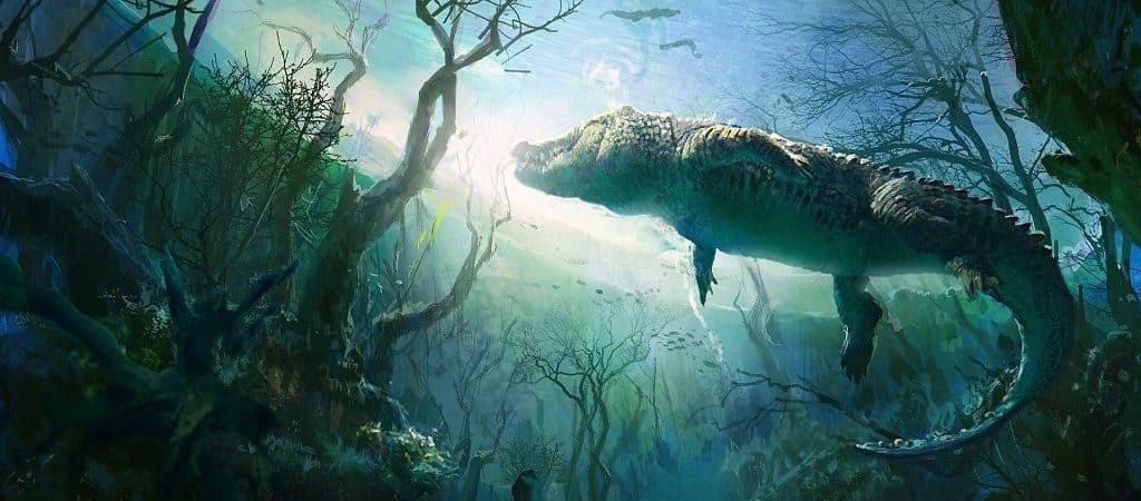 Крокодил под водой