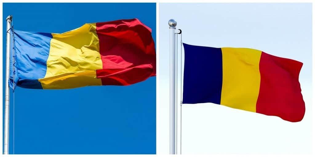 Флаги Румынии и Республики Чад
