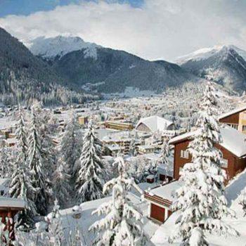 Заснеженый город в Альпах